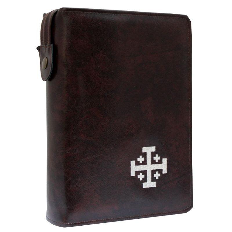 Biblia Jerozolimska z etui kasztan haft ecru paginacja