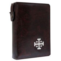 Biblia Jerozolimska z etui kasztan haft ecru