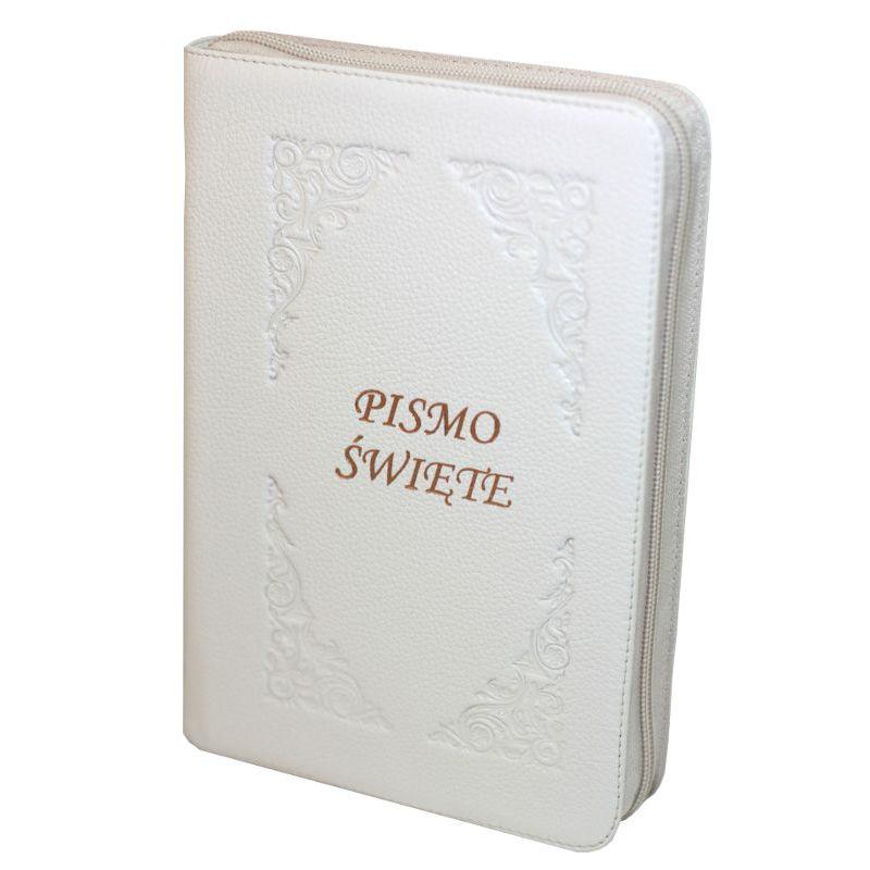 Biblia Pismo Święte Edycja św. Pawła ecru skóra zamek Pamiątka