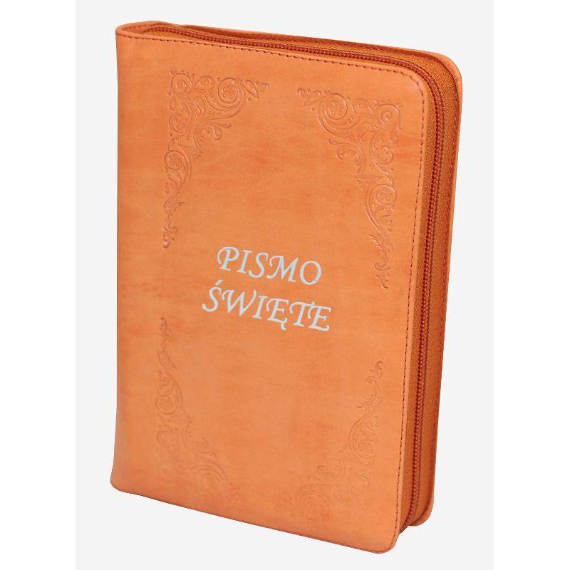Biblia Tysiąclecia oazowa skóra zamek orange