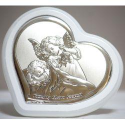 Anioł z latarenką Pamiątka Chrztu Św. w sercu 9x9,5 cm
