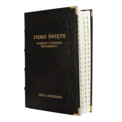 Biblia Rodzinna czarna skóra paginacja
