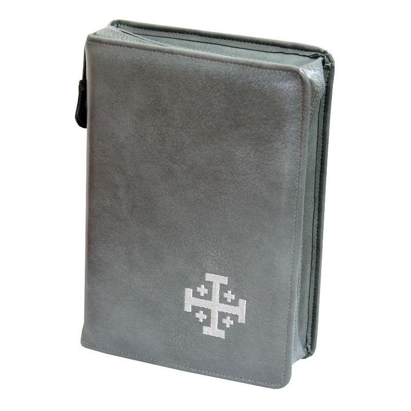 Biblia Jerozolimska z etui szare haft szary paginacja
