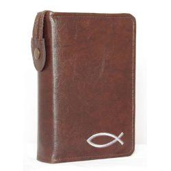 Etui Biblia Tysiąclecia mała (oazowa)Kasztan z haftem szarym