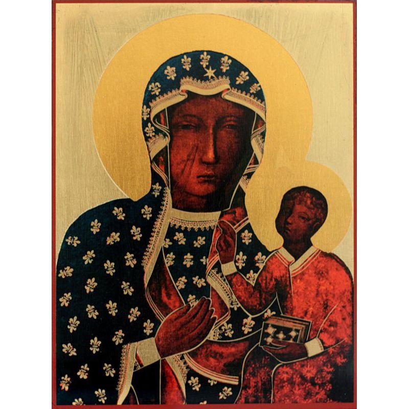 Ikona Matka Boska Częstochowska złota