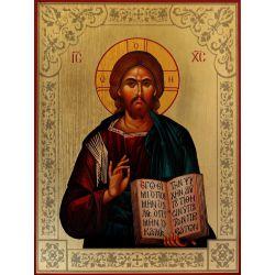 Ikona Chrystusa Pantokratora zdobiona