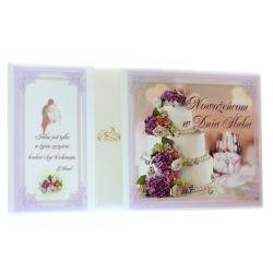 Nowożeńcom w Dniu Ślubu. Pamiątka zawarcia sakramanetu (tort fiolet)