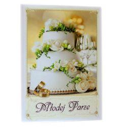Młodej Parze. Pamiątka z okazji ślubu (ecru tort)