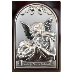 Aniołek z latarenką - Pamiątka Chrztu Świętego obrazek srebrny 9x6 błysk
