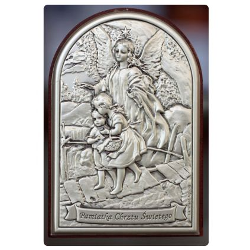 Anioł Stróż przeprowadzający dzieci przez kładkę - Pamiątka Chrztu Świętego obrazek srebrny 9x6 mat