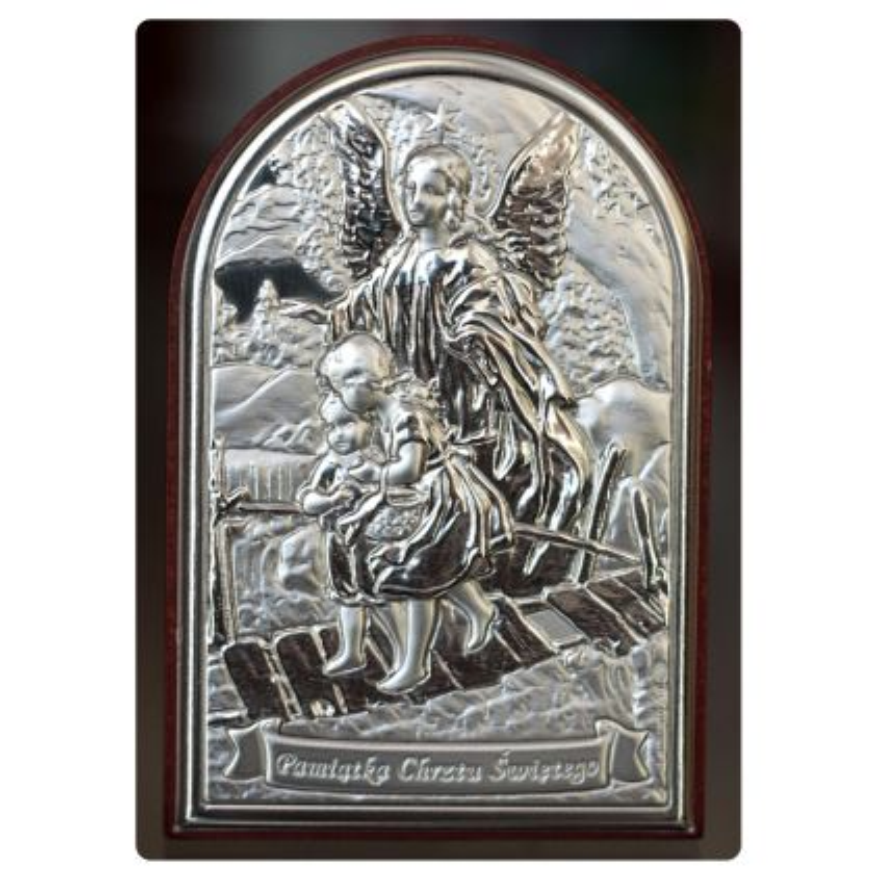 Anioł Stróż przeprowadzający dzieci przez kładkę - Pamiątka Chrztu Świętego obrazek srebrny 9x6 błysk