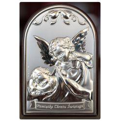 Aniołek z latarenką - Pamiątka Chrztu Świętego obrazek srebrny 12x8 błysk