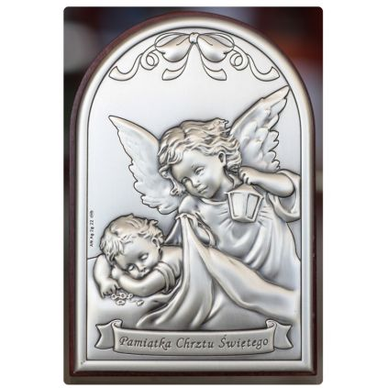 Aniołek z latarenką - Pamiątka Chrztu Świętego obrazek srebrny 12x8 mat