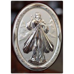 Jezus Miłosierny - obrazek srebrny owal 18x13