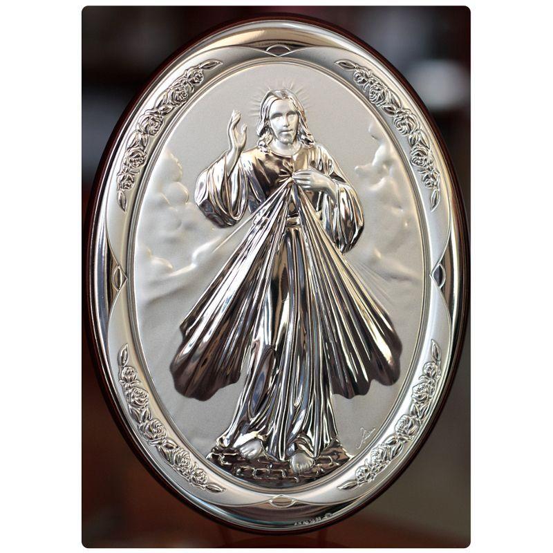 Jezus Miłosierny - obrazek srebrny owal 18 x 13