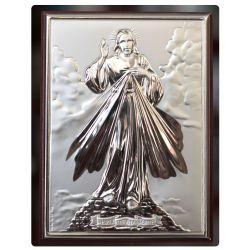 Jezus Miłosierny - obrazek srebrny 11,5x8,5