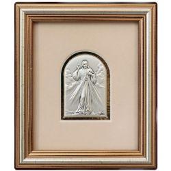 Jezus Miłosierny - obrazek srebrny 4,5x6,5 ramka 12,5x14,5