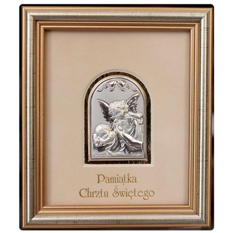 Aniołek z latarenką - Pamiątka Chrztu Świętego - obrazek srebrny 4,5x6,5 ramka 12,5x14,5 błysk