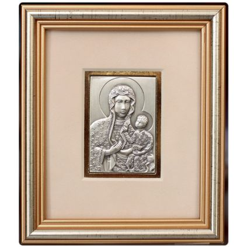 Matka Boska Częstochowska - obrazek srebrny 5x6,5 ramka 12,5x14,5