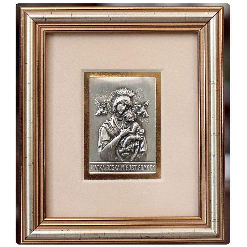 Matka Boska Nieustającej Pomocy - obrazek srebrny 5x6,5 ramka 12,5x14,5
