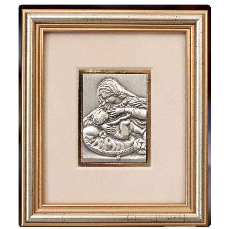 Matka Boża Karmiąca - obrazek srebrny 5x6,5 ramka 12,5x14,5