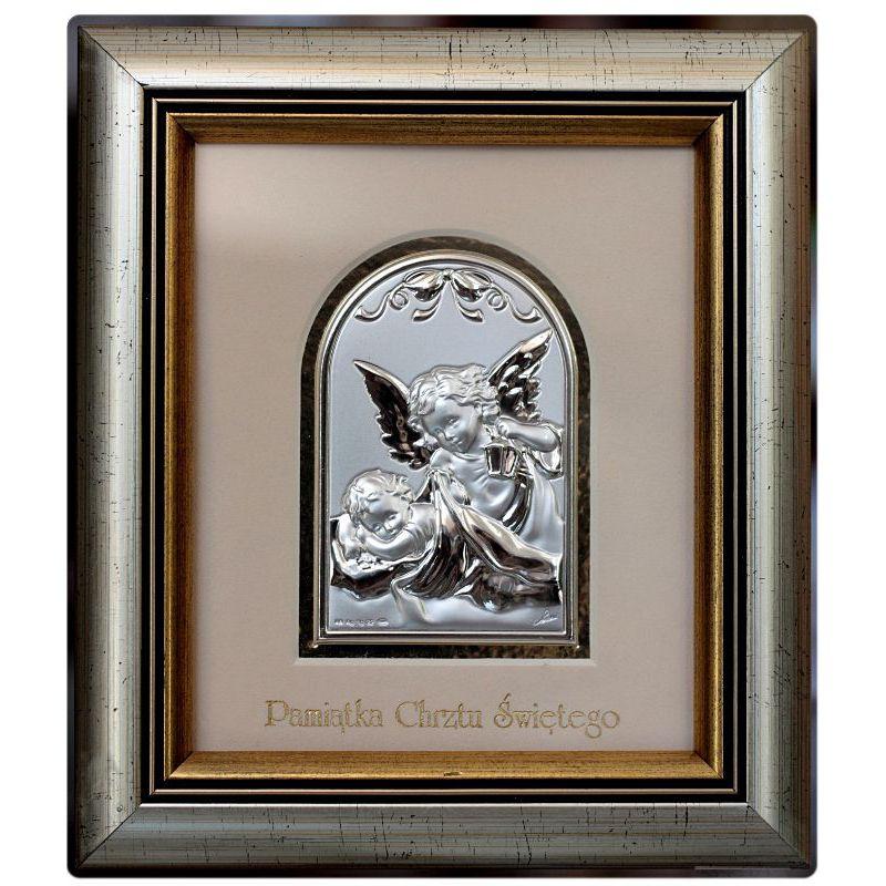 Aniołek z latarenką - Pamiątka Chrztu Świętego - obrazek srebrny 8,5x6 ramka 19x16,5 błysk