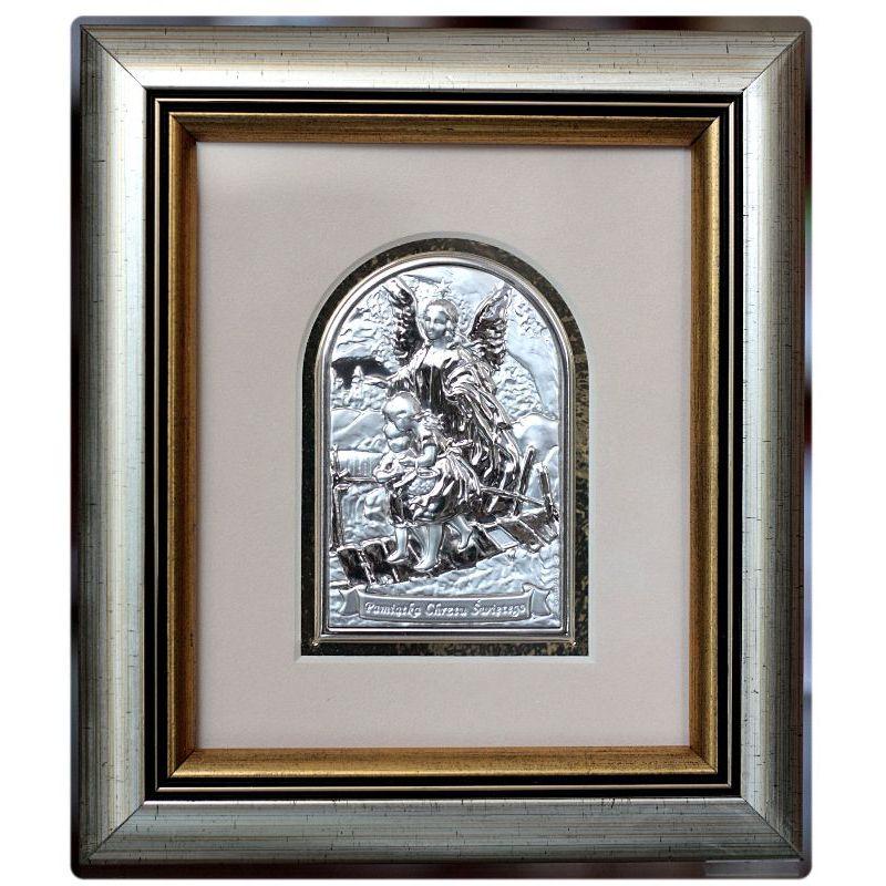 Anioł Stróż przeprowadzający dzieci przez kładkę - Pamiątka Chrztu Świętego obrazek srebrny 8,5x6 ramka 19x16,5