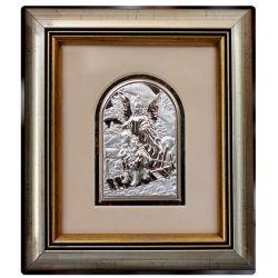 Anioł Stróż przeprowadzający dzieci przez kładkę - obrazek srebrny 8,5x6 ramka 19x16,5 błysk