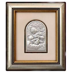 Matka Boża Karmiąca - obrazek srebrny 8,5x6 ramka 19x16,5 mat
