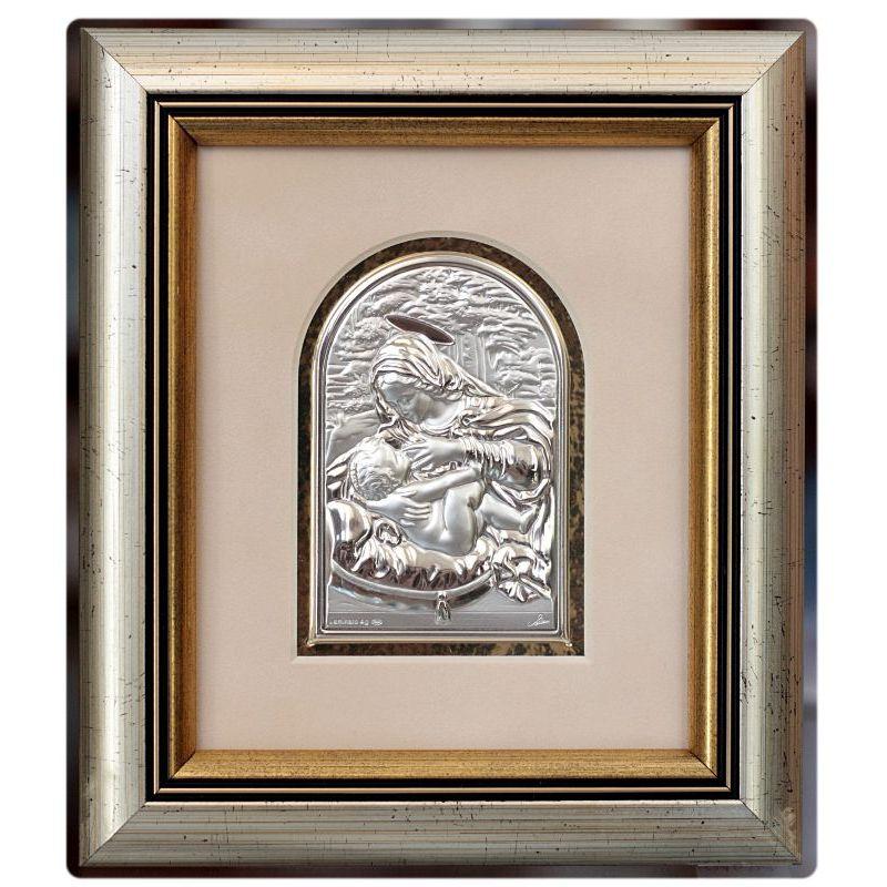 Matka Boża Karmiąca - obrazek srebrny 8,5x6 ramka 19x16,5 błysk