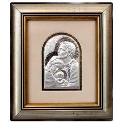 Święta Rodzina - obrazek srebrny 8,5x6 ramka 19x16,5 błysk