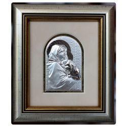 Matka Boża z Dzieciątkiem - obrazek srebrny 8,5x6 ramka 19x16,5 błysk