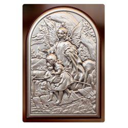 Anioł Stróż przeprowadzający dzieci przez kładkę - obrazek srebrny 9x6 mat