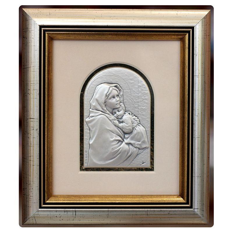 Matka Boża z Dzieciątkiem - obrazek srebrny 8,5x6 ramka 19x16,5 mat
