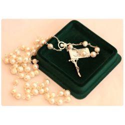 Srebrny różaniec z kamieniem półszlachetnym - perła słodkowodna