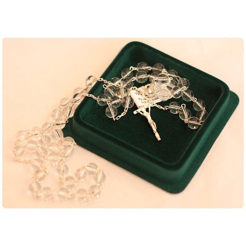 Srebrny różaniec z kamieniem półszlachetnym - kryształ górski