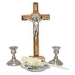 Komplet kolędowy z oliwnym krzyżem św. Benedykta 26 cm