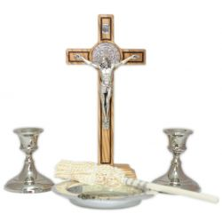 Komplet kolędowy z oliwnym krzyżem św. Benedykta 21 cm