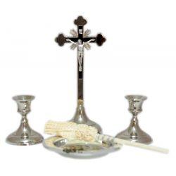 Komplet kolędowy KK21 w odcieniach srebra krzyż 19 cm