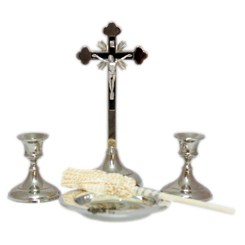 Komplet kolędowy w odcieniach srebra krzyż 20 cm