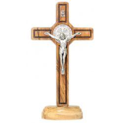 Krzyż stojący oliwny św. Benedykt 15 cm