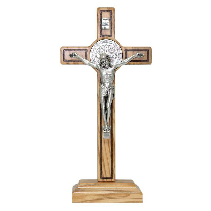 Krzyż stojący oliwny św. Benedykt 21 cm