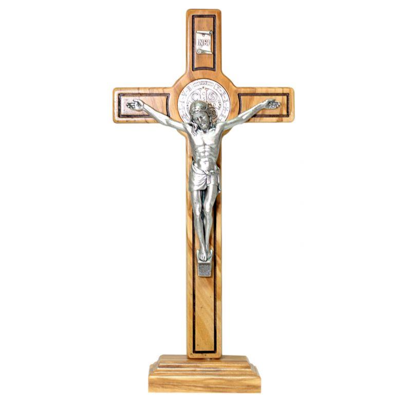 Krzyż stojący oliwny św. Benedykt 26 cm
