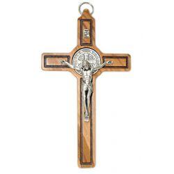 Krzyż wiszący oliwny św. Benedykt 15 cm