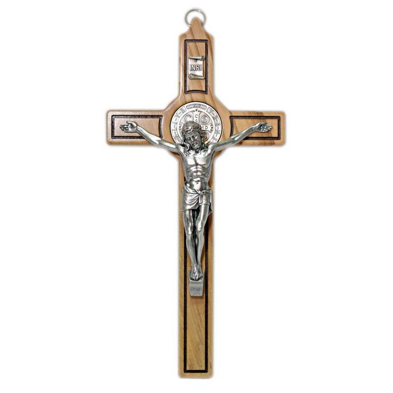 Krzyż wiszący oliwny św. Benedykt 25 cm